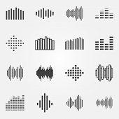 Music soundwave or equalizer icons set