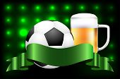 Soccer Ball, Beer And Ribbon For Your Text