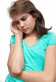 teen sad - teen girl with headache on white backgroud