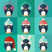 Penguins Icons Set In Flat Design