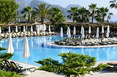 beautiful swimming pool in the tropical hotel