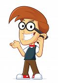 stock photo of geek  - Clipart Picture of a Nerd Geek Cartoon Character Talking on Cell Phone - JPG