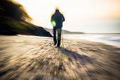 Nordic Walking Sport Run Walk Motion Blur Outdoor Person Sea Figure Beach