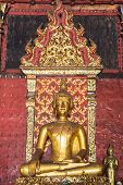 Old Golden Buddha Statue In Chapel