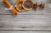 Dry Orange, Cinnamon And Star Anise With Copy Space
