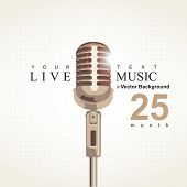 stock photo of microphone  - vector Music poster Live music with microphone - JPG