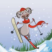 Smiling Sheep Flies With Snowy Mountains On Skis.eps