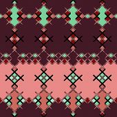 Embroidered Textile Ornamental Seamless Cross-stitch Pattern Texture Background