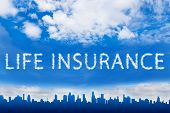 foto of insurance-policy  - life insurance text on cloud with blue sky - JPG