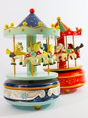 pic of merry-go-round  - sky blue and red merry-go-round horse carillon wooden carouse
