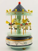 foto of merry-go-round  - sky blue merry-go-round horse carillon wooden carouse