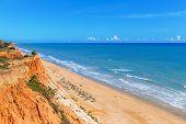 Sunny Beach Summer Sea Albufeira In Portugal. For Holiday Enjoyment.