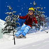 Skier Skiing.eps