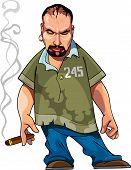 Cartoon Gangster Gloomy Man With A Cigar.eps