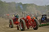 Tractors line up for parade at a Steam Threshers Reunion