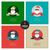 four xmas cards with hipster santa .place for your text
