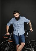 Bearded Man With Vintage Bicycle