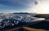 View of the glacier lagoon, Jokulsarlon, Iceland