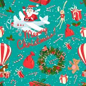 Festive Christmas and New Year seamless pattern in vintage flat