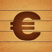 euro on wooden background
