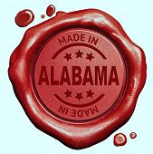 Made in Alabama red wax seal or stamp, quality label
