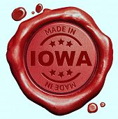 Made in Iowa red wax seal or stamp, quality label