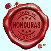 Made in Honduras red wax seal or stamp, quality label