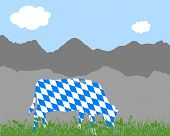 foto of bavarian alps  - Detailed and accurate illustration of cow alp and bavarian flag - JPG