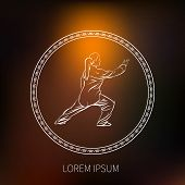 pic of tai-chi  - Tai Chi Vector Stylized Icon with an Ornament in a Circle - JPG