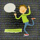 Vector happy birthday fun greeting card. Boy waving with speech balloon.