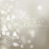 Silver Christmas Background With Bells And Snowflakes