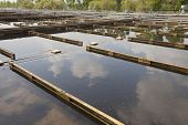 stock photo of aeration  - Wastewater treatment plant aerating basin - JPG