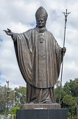 picture of guadalupe  - Beautiful massive bronze statue of Pope John Paul II located between new and old Basilicas of Guadalupe in Mexico City - JPG