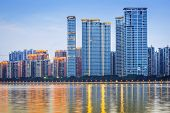 Guangzhou, China modern architecture along the Pearl River.