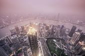 Shanghai, China City Skyline view over the Pudong Financial District.