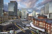 Tokyo, Japan cityscape at Tokyo Station.