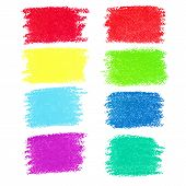 Set of pastel crayon spots isolated on white background