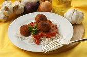 Meatballs With Organic Spaghetti On A Plate poster