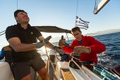 PATRAS - ZAKYNTHOS, GREECE - OCT 2, 2014: Unidentified sailors participate in sailing regatta