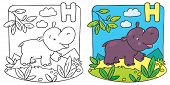 Little hippo coloring book. Alphabet H