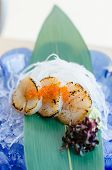 Fresh Sea Scallops Sashimi With Fish Roe