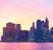 New York City USA colorful cityscape of Manhattan buildings