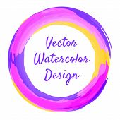 Watercolor brush circle frame for banner. Vector illustration.