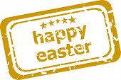 Happy Easter Grunge Vintage Seal Isolated On White
