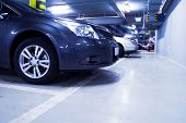 Parking Garage, Car In Underground Interior