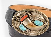 Gold, Bear Claw and Turquoise Belt Buckle.