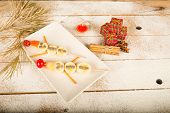 foto of christmas meal  - Fruity Christmas dessert set up and decorated as a kid meal - JPG