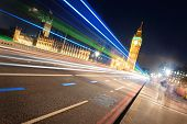 picture of westminster bridge  - Light trail on Westminster Bridge with Big Ben at night in London - JPG