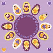 Card orange Russian dolls matryoshka on a purple background. Vector
