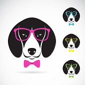 picture of seeing eye dog  - Vector images of dog beagle wearing glasses on white background - JPG